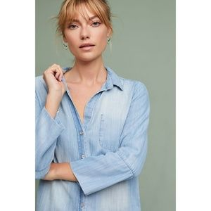 Anthro Cloth + Stone Flare Sleeve Chambray Top SM